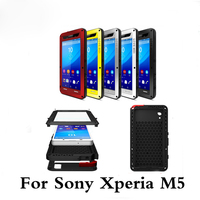 LOVE MEI Phone Doom cover on For SONY Xperia M5 cases waterproof shockproof Doom armor rugged Gorilla Glass case For Sony M5