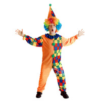 Children Masquerade Performance Wear Clown Clothes Child Plaid Clown Set School Party Family Party Cute Ployester