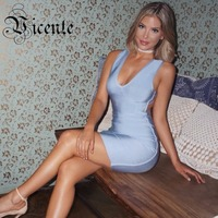 Vicente HOT 2018 New Fabulous Trend Open Back Striped Straps Halter Celebrity Party Style HL Bandage Dress