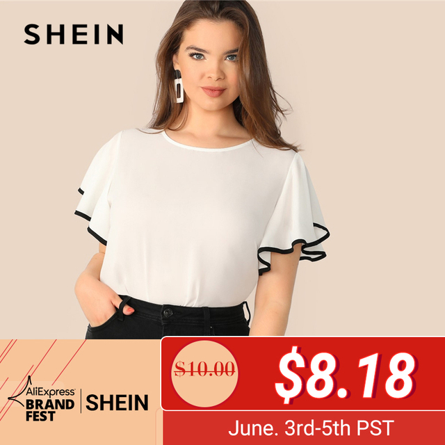 57d09e191d93 SHEIN Plus Size White Contrast Binding Butterfly Sleeve Button Ruffle Top  Blouse Women 2019 Spring Casual Round Neck Top Blouses