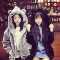 2017 Winter Korean Cute Rabbit Ears Loose Fluffy Hooded Students Thicken The Long Sleeved Sweatshirts