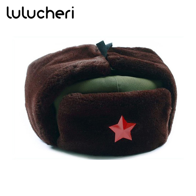 425d5b70d06 Chinese Russian Army Trooper Hat Ushanka Winter Green Warm Cap With Red  Star Badge