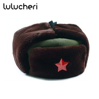 Chinese Russian Army Trooper Hat Ushanka Winter Green Warm Cap With Red Star Badge