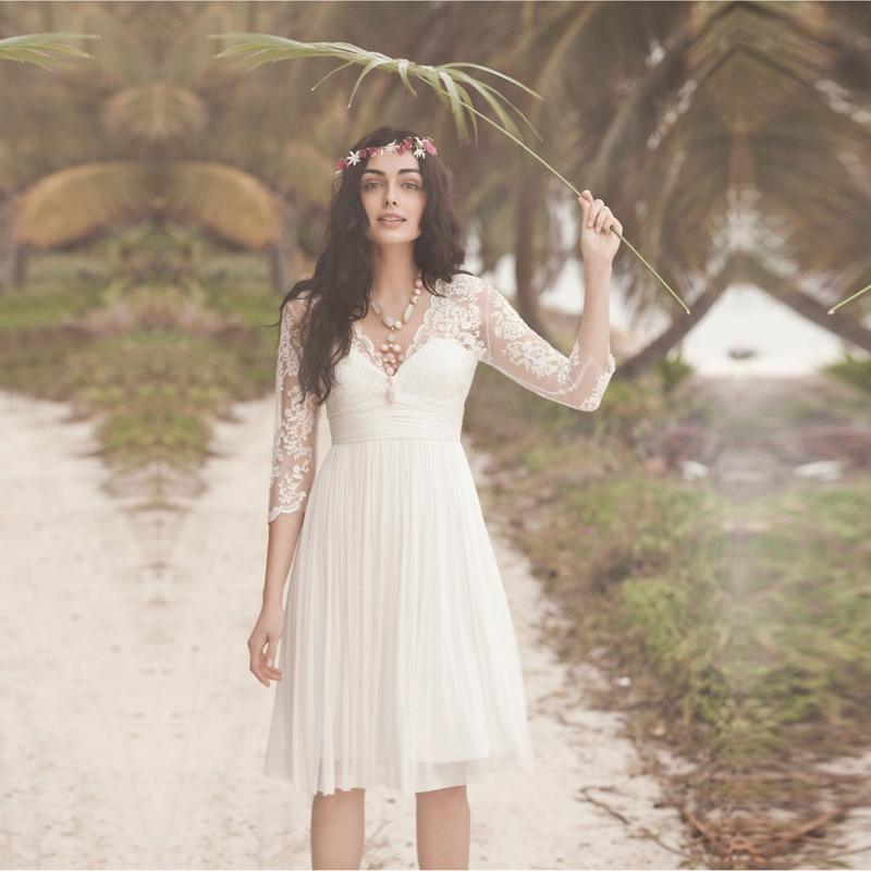 Vestido De Noiva V Neck Three Quarter Lace Sleeves Short Chiffon