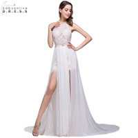 Romantic 2015 Ivory Lace Vestido De Noiva A Line Beaded Halter Sexy Backless High Low Wedding