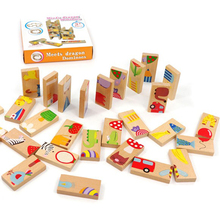 Baby Toys Child Animal Domino 28Pcs Building Blocks Wooden Toys Beech Wood Infant Domino Educational Toys Child Birthday Gift