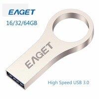 EAGET Metal USB3.0 USB Flash Drive 64GB High Speed Pen Drive 32GB Key Ring Memory Stick Pendrive 16GB Waterproof U Disk Mini