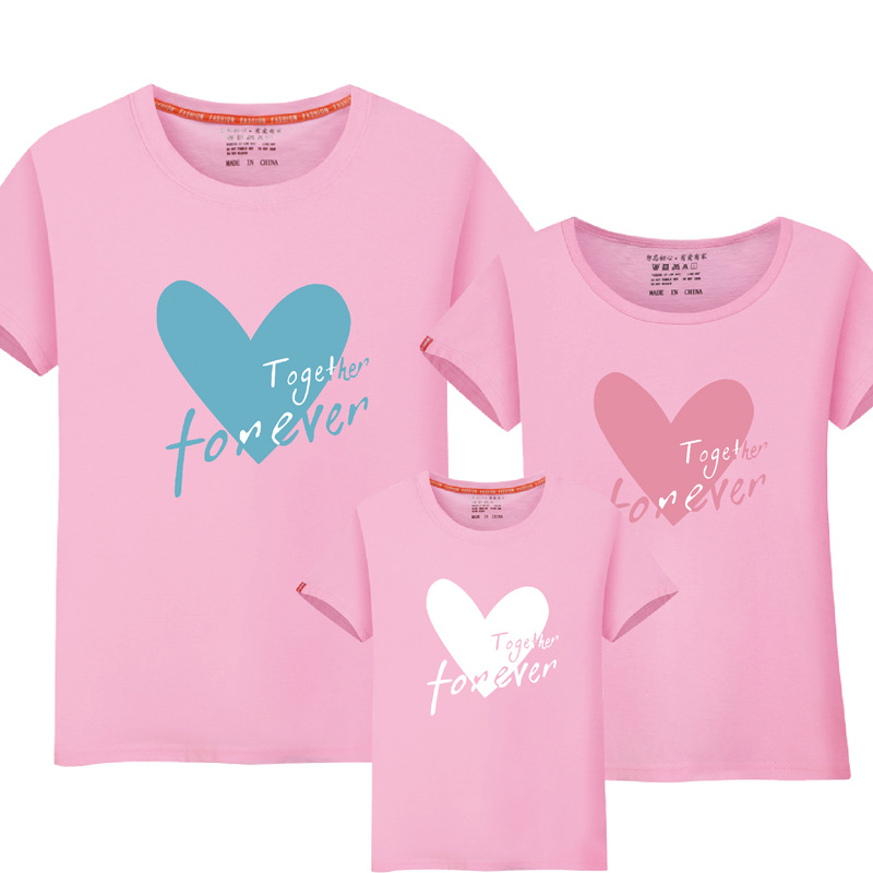 1 Piece Matching-mother-daughter-clothes Family T Shirt Heart Print Mommy Daughter Matching Family Matching Mom Daughter Clothes