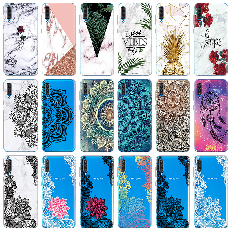 Marble Lace Flower Cover For Samsung Galaxy A50 A505 A505F Clear TPU Girl Case For Samsung Galaxy A10 A20e A30 A40 A60 A70 Coque image