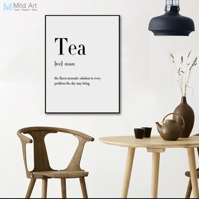 minimalist typography food coffee tea quotes posters print nordic style cafe kitchen wall art picture home