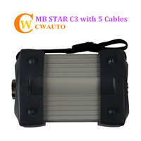 New MB C3 Star Diagnosis Multiplexer with 5 Cables for Cars and Trucks No Software HDD Free Shipping