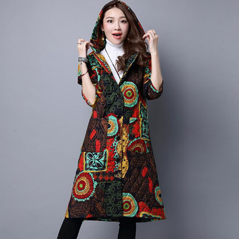 Women's Winter Jacket 2018 New Fashion Hoods Print Padded Cotton Jacket Single Breasted Long Thicken Outwear Parkas