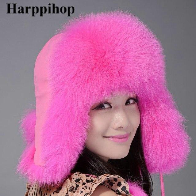 Harppihop calle cap feng lei sombrero de piel de fox de piel de piel de piel sombrero multicolor otoño e invierno bombardero moda sombreros para las mujeres