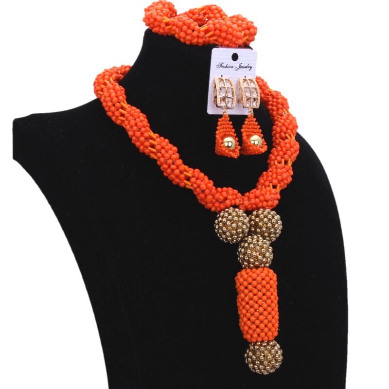 4UJewelry Nigeria Jewelry Sets For Wedding Orange & Gold Dubai Jewelry Sets for Women Big Balls African Beads Necklace 2018 Hot african orange red beads necklace sets orange gold crystal balls beads women fashion jewellery sets qw1191