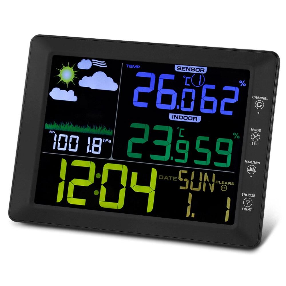 TS-8210-BK Baromètre Intérieur Extérieur Température Humidité alarme numérique horloge décorative LCD Ordinateurs de Bureau alarme de table Horloge