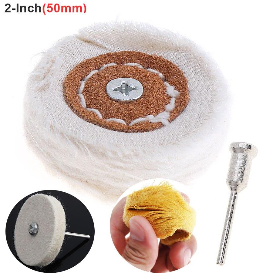 2 Inch T-shaped White Cloth Polishing Wheel Flannel Mirror Polishing Buffer Cotton Pad With 3mm Shank Diameter Surface Polishing