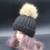 2016 Mujeres de Invierno Mapache Pompones Pompón de Piel de Lana de Cachemira Sombrero de Punto Beanie Sombreros Bobble