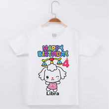 New Birthday Fashion T-shirt Libra Printing Cotton Kids Tops Girls Short Sleeve Children Clothing Baby Tee Shirts Custom Tshirt