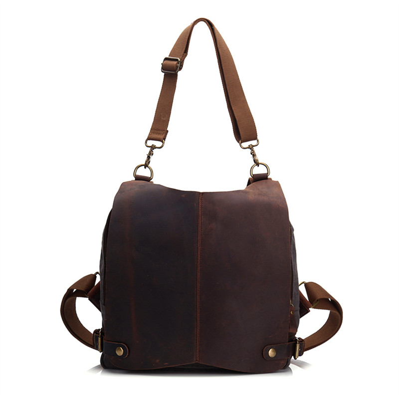 Vintage Canvas Genuine Leather Women Men Casual Backpack Day Pack School Notebook Bag Shoulder Bags for
