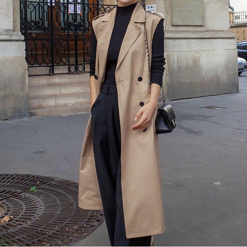 Double Breasted Sleeveless Trench Coat Vest Women Chaleco Mujer Long Vest Jacket Women Cardigan Waistcoat Women Vest C5591