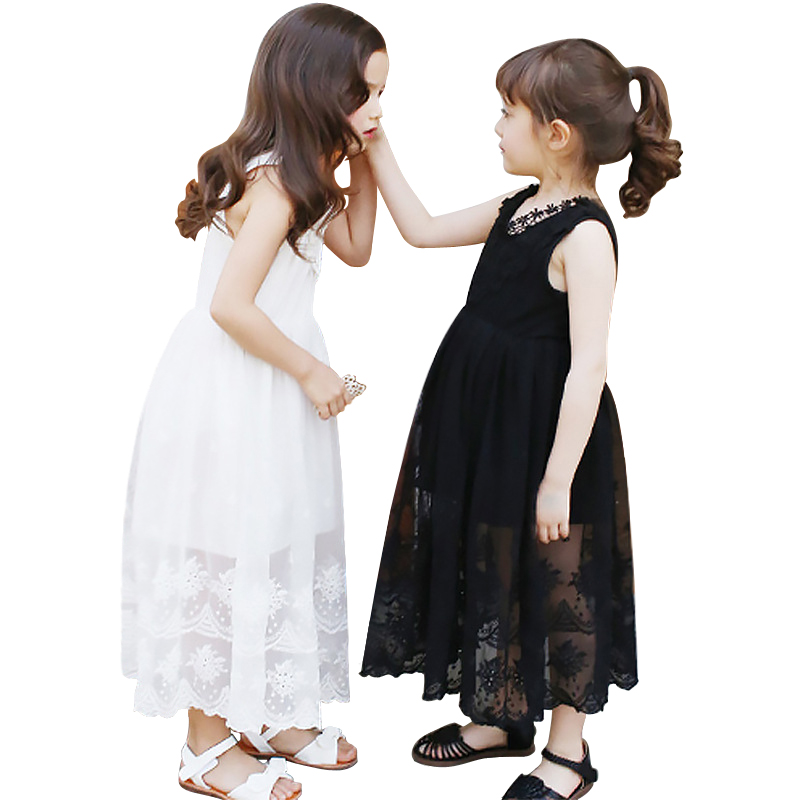 Age 4-14 Yrs Big Girls Dresses Summer 2018 Fashion New Lace Princess Sleeveless Long Maxi Dresses For Girl Kids White And Black white sleeveless mesh and lace overlay details playsuit