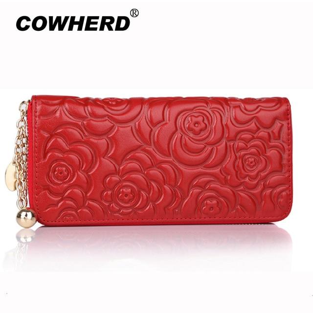 2019 Hot Selling ladies Rose Flower Embossed Genuine Cow Leather long Zipper Wallet Women Fashion Clutch Bag Purse