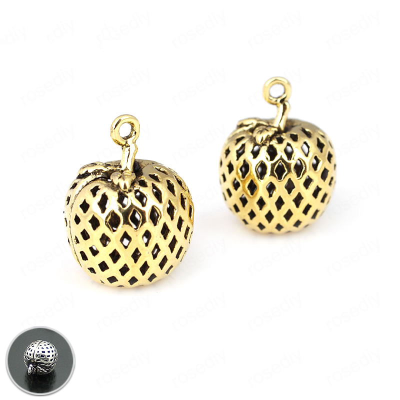 6PCS 12MM Antique Gold Color Plated Brass Hollow Apple Charms Pendants Diy Jewelry Findings Accessories wholesale
