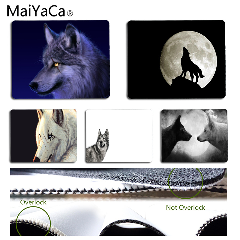 MaiYaCa Wolf Customized MousePads Computer Laptop Anime Mouse Mat Size for 25x29CM Speed Version Gaming Mousepads