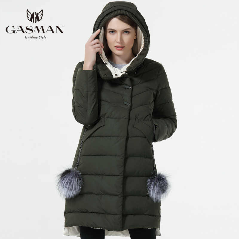 GASMAN 2019 Winter Women Down Jacket Medium Length Female Thick Warm Hooded Down Parka Windproof Overcoat With Natural Fur Ball