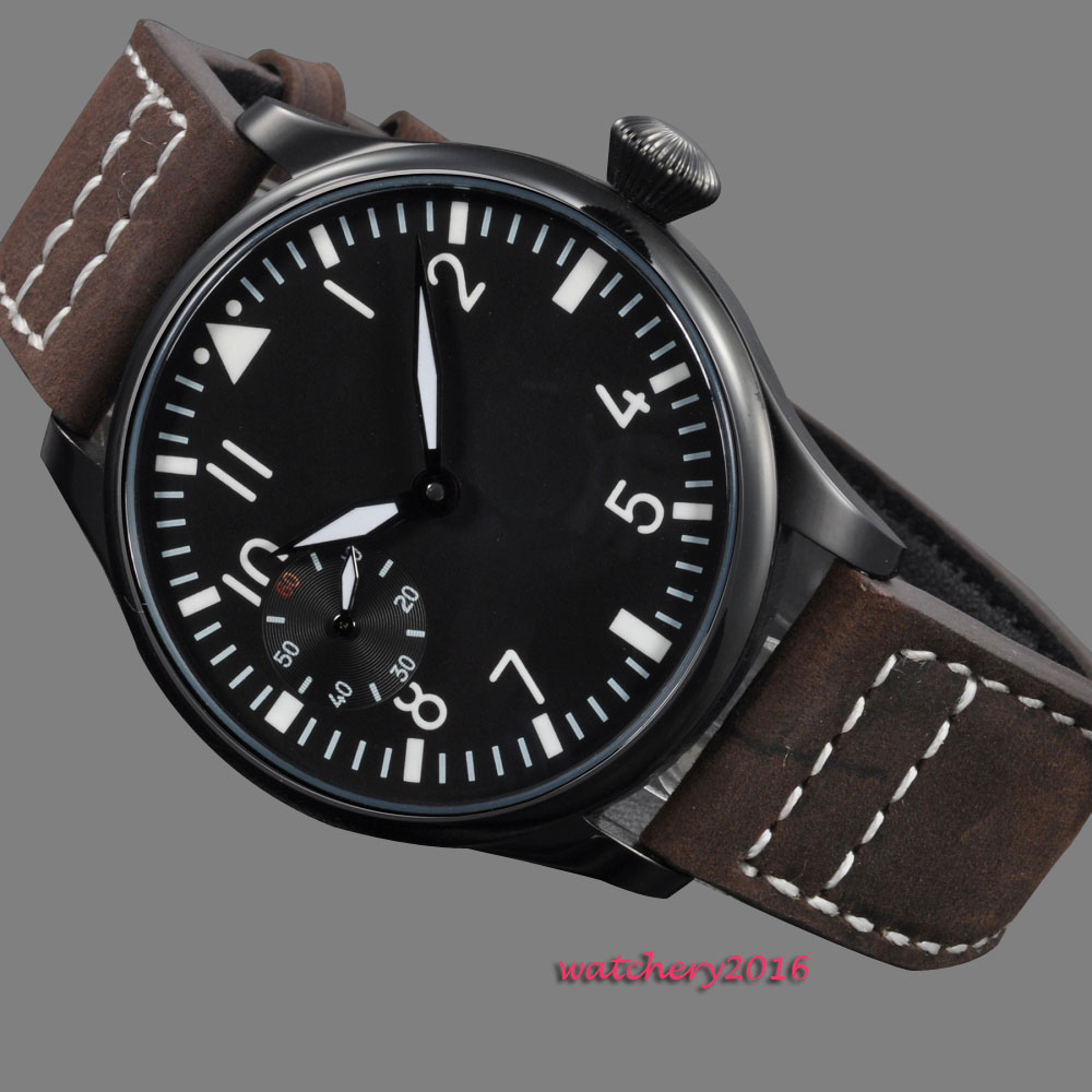 44mm parnis black dial pvd case stainless steel case Luminous 17 jewels 6497 movement Hand Winding Mechanical Men's Watch 44mm parnis black dial super luminous sea gull 3600 stainless steel case hand winding 6497 mechanical mens watch