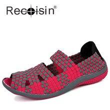 RECOISINขนาด40ผู้หญิงP Eepนิ้วเท้าทอรองเท้าฟางถักฤดูร้อนนุ่มสบายE Spadrillesรองเท้าหนังนิ่มแฟชั่นรองเท้าลำลอง812