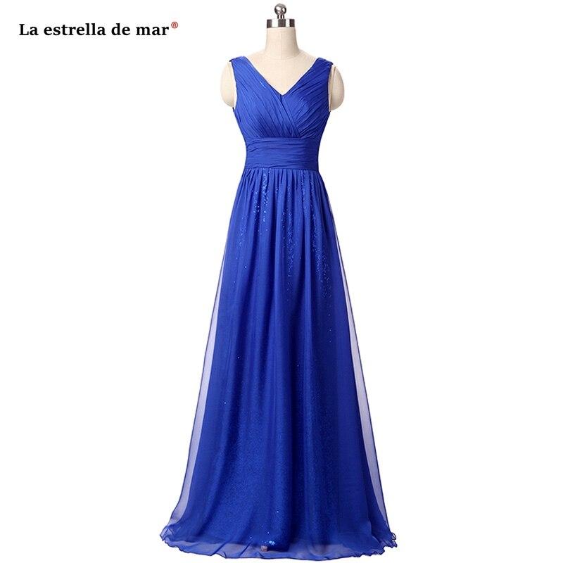 Vestido Madrinha2019 New Chiffon Sequins Sexy V Neck A Line Royal Blue Bridesmaid Dresses Long Wedding Guest Dress Plus Size