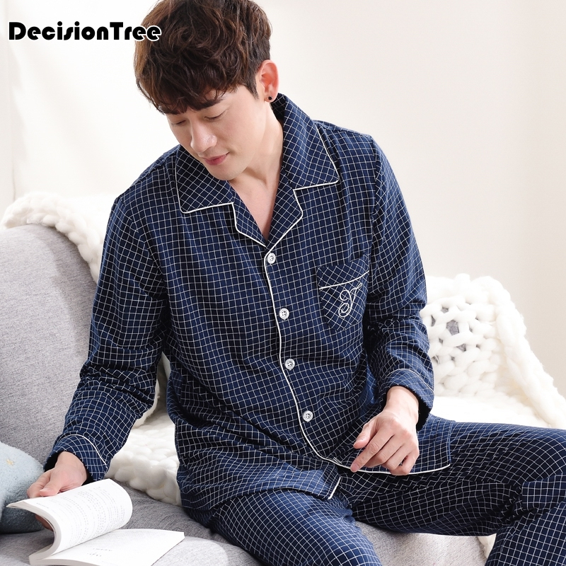 2019 Mens Pajamas 100%cotton Letter Striped Cartoon Pajama Set Long Sleeve Casual Men Pyjamas Plus Pijama