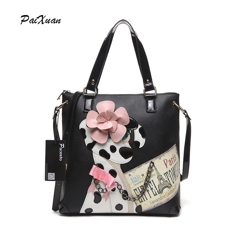 New Luxury brand Women Leather Handbags Cartoon black big Bag Italy Borse Braccialini Messenger bags portefeuille femme canta px big face cat package dog printing bag borse borse da donna marche famose luxury women designer handbags high quality brand 49