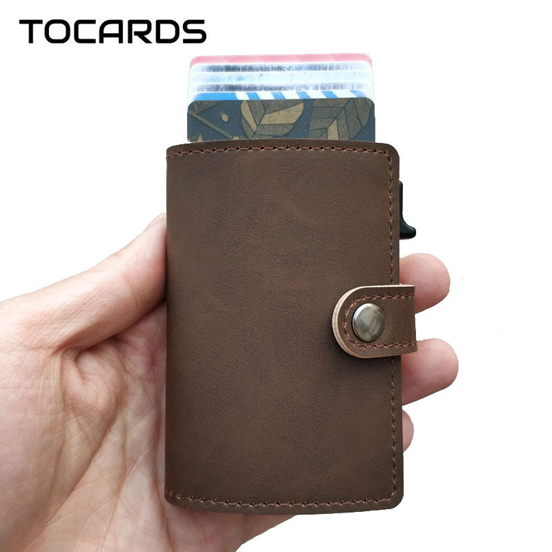 2019 New RFID Blocking Vintage Credit Card Holder Men Aluminum Business ID Leather Card Case Male Metal Cardholder Slim Wallet