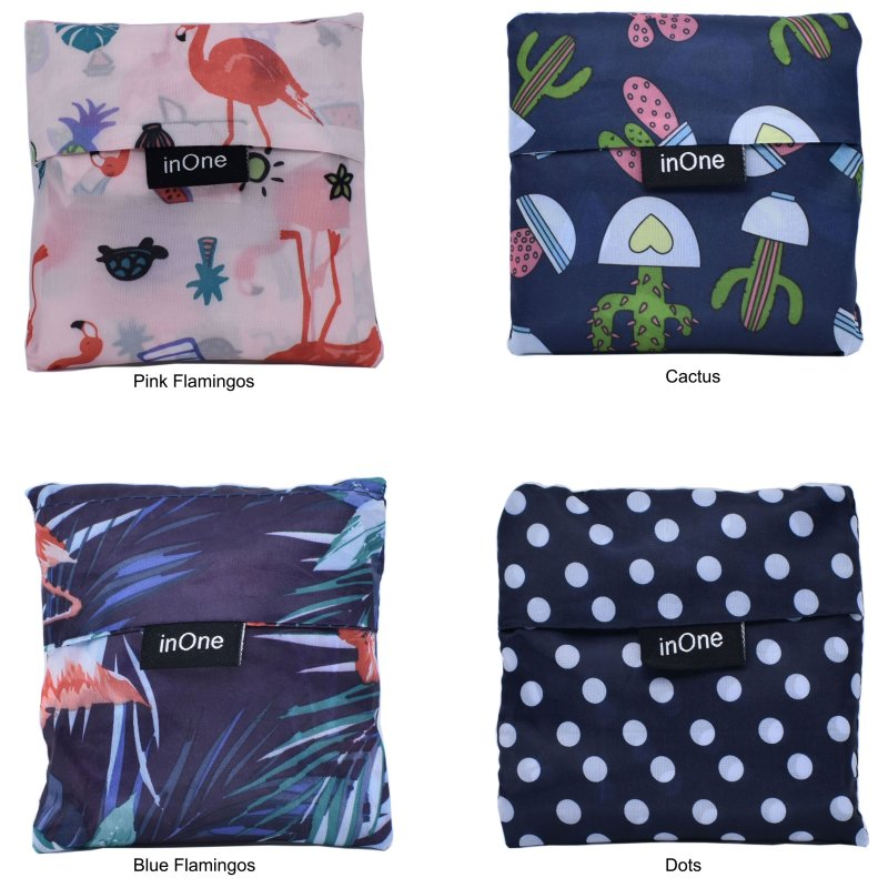 INONE 2019 Women Foldable Shopping Bag Tote Pouch Portable Reusable Grocery Storage Eco Bags Cactus Flamingo Dots Free Shipping