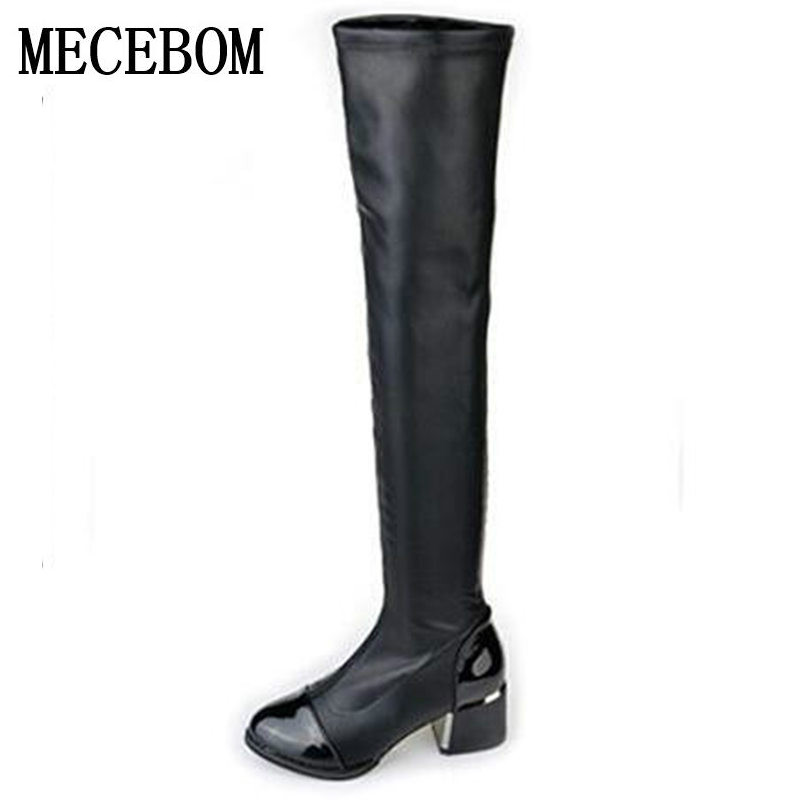 2018 new Fashion PU Leather Over Knee Boots Women Sequined Toe Elastic Stretch Thick Heel High Riding Boots Big Size 40 W8858W