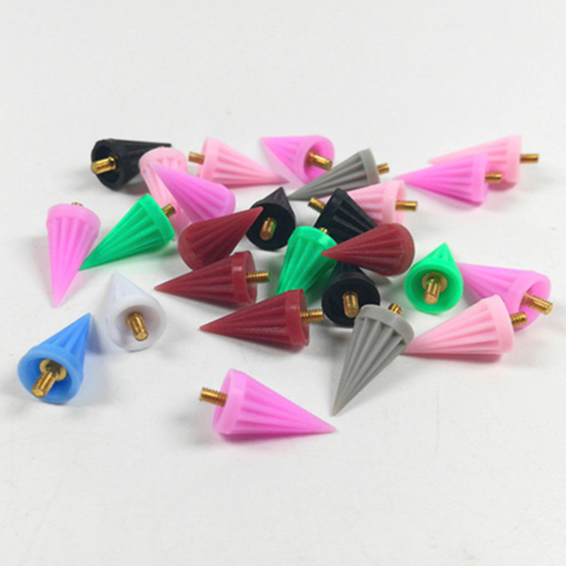 100 Pcs Dental Polishing Cup Silicone Polisher Prophy Tapered Umbrella Sharp Screw-in Screw Mixed Color Prophylaxis