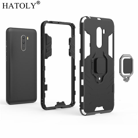For Xiaomi Pocophone F1 Case Cover Magnetic Suction Ring Bracket Cases Silicone Hard Armor Cover Xiaomi Pocophone F1 Little F1 Multan