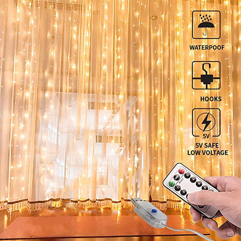 3x1/3x3m 100/300 LED Curtain Light String USB Power Copper Wire Fairy Lights String Living Room Bedroom Curtain Decor Lighting