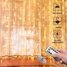 3x1/3x3m 100/300 LED curtain light string USB power copper wire fairy lights living room bedroom decor lighting