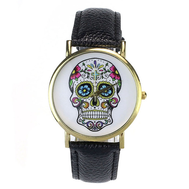 NEW Fabulous Women Men Punk Skull Analog Watch Leather Band Quartz Wrist Watch r