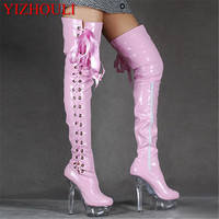 High Heel Over the Knee Peep Toe Long Boots Women Sexy Boots Special Pole Dancing Boots 15cm High Heel Dance Shoes