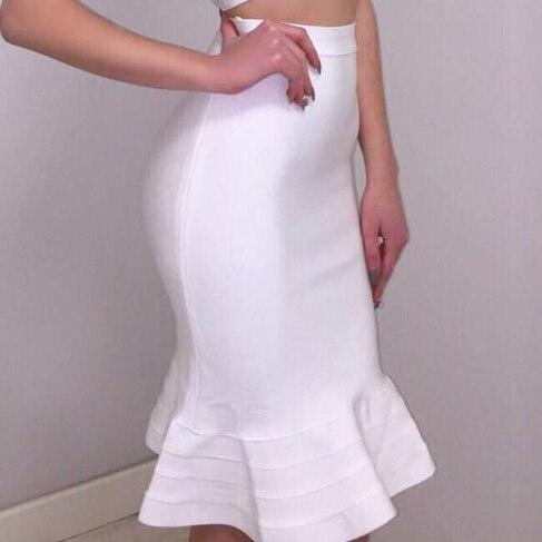 Velkoobchodní vysoce kvalitní meruňková bandáž tužková sukně s lemovanou lemem / obvazovou sukní (H668)