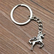Keyring Lucky Horn Horse Keychain 24x21mm Silver Plated New Fashion Handmade Metal KeyChain Souvenir Gifts For Women B10473(China)