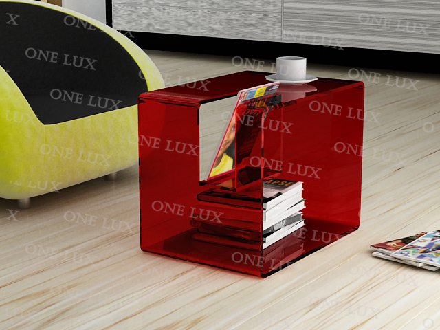 ONE LUX Lucite Coffee Tea  table with magzine holder,Acrylic Bedside Tables,Perspex Nightstand free shipping shelf clear acrylic lucite bedside table plexiglass nightstand
