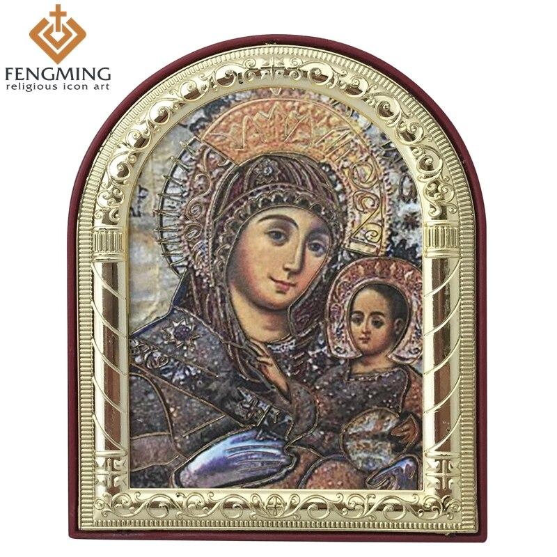 Přizpůsobené východní ortodoxní katolické obrazu kovové rámováno plastové Panny Marie a Ježíše pro náboženské svobody křesťanské dary