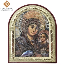 Customized Eastern Orthodox Catholic Image Metal Framed Plastic Virgin Mary And Jesus for Religious Freedom Christian Gifts
