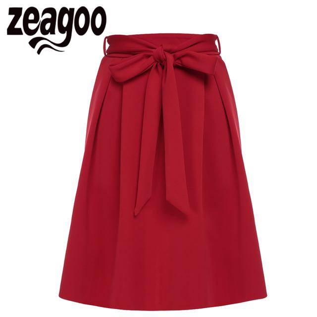 Zeagoo Primavera Falda de Las Mujeres de Moda de Verano Sólido de Alta Cintura Una Línea de Arco Elegante de Mitad de la pantorrilla Falda Carrera Bow Saia Femenina ropa