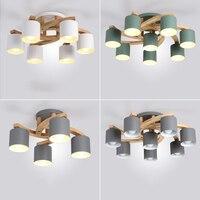 Nordic дерева E27 потолочный светильник просто Art гладить потолочный светильник Спальня Гостиная светодио дный Кухня столовая и бар светильник
